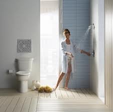 American Standard equipped bathroom with woman in it