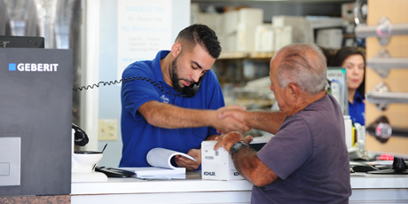 Man buying plumbing parts in Miami
